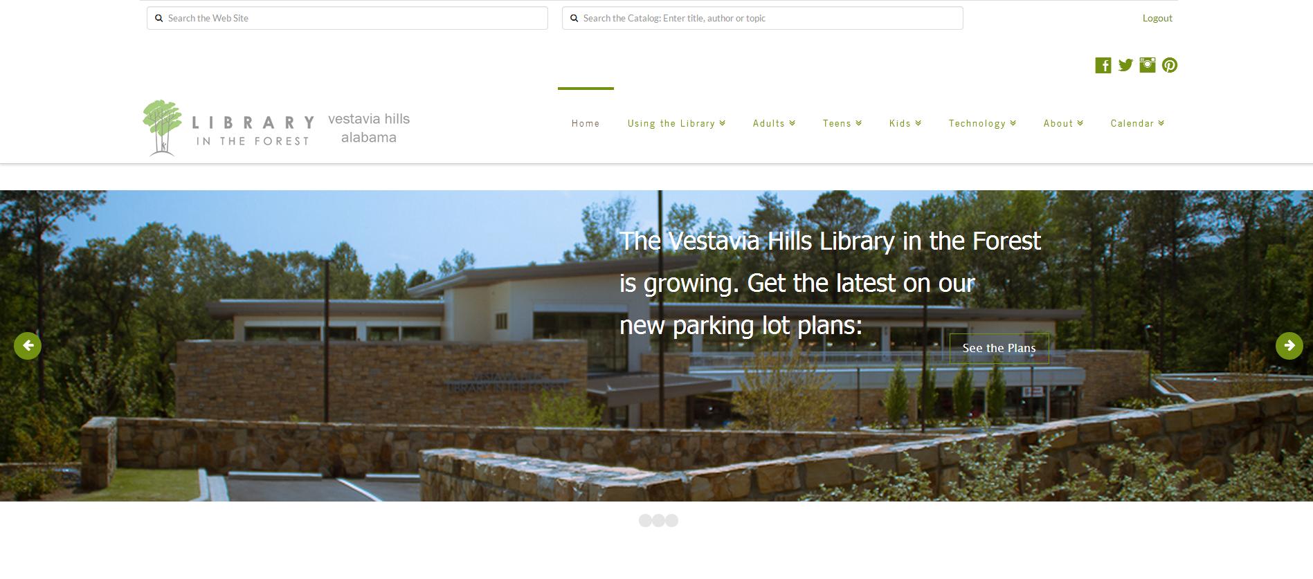 vestavia library, library in the forest, calendar, blog, non-profit, nonprofit, non profit, flexible, gallery