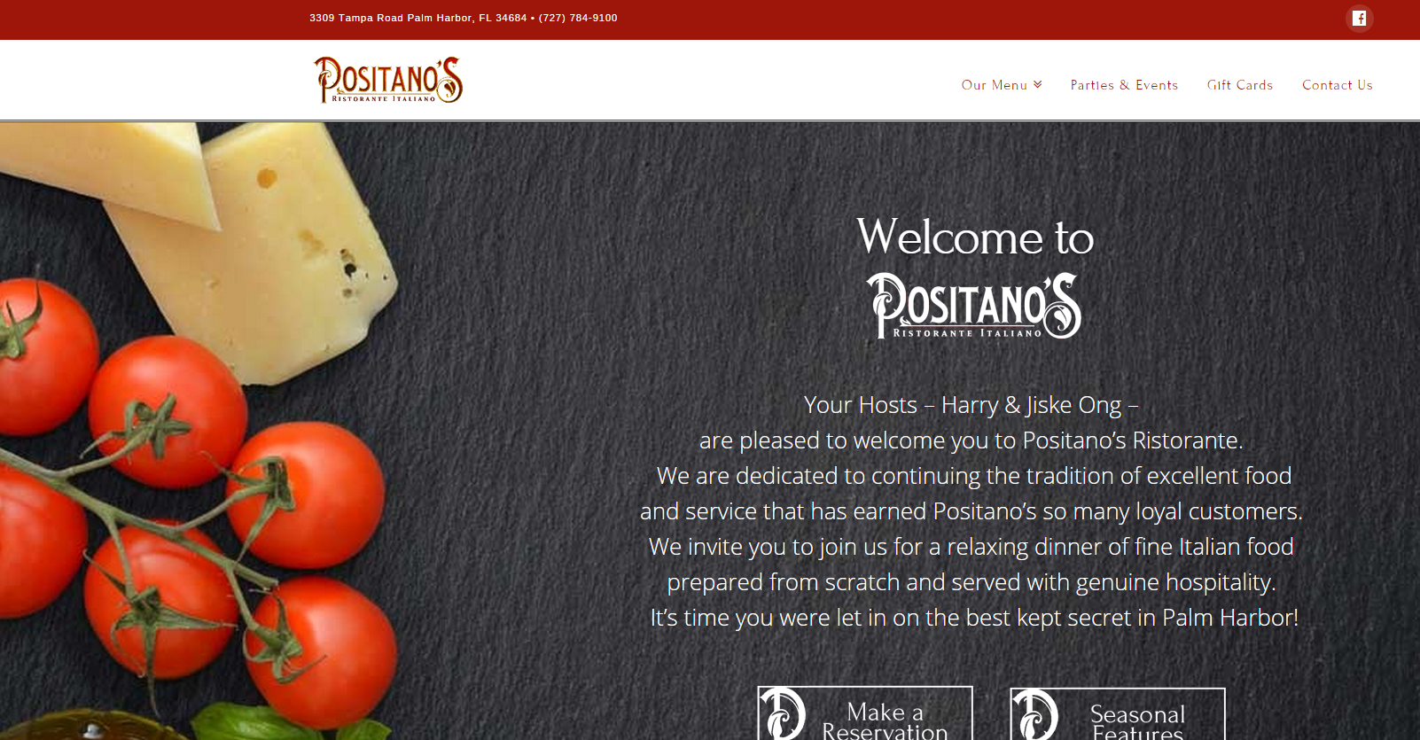 positano's, small business, restaurant, web site, redesign